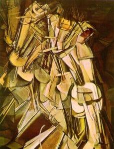 Desnudo descendiendo una escalera (Duchamp). Bajando una escalera no conviene que la conciencia irrumpa en la consciencia.