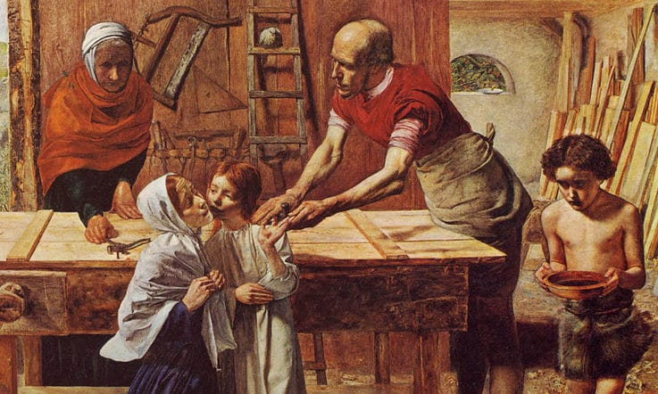 """Jesús en casa de sus padres"" Sir John Everett Millais"