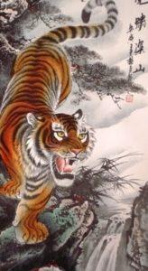 Siéntate en lo alto de la montaña y observa cómo luchan los tigres entre sí