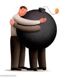 Dibujo - Hombre abraza bomba con piernas